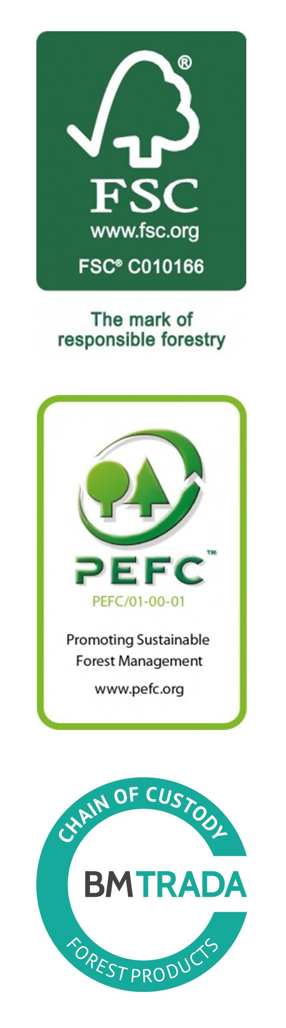 FSC, PEFC & Forest Products Logos - Portrait